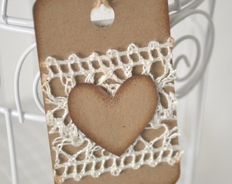 Shabby Chic Heart and Lace Gift Tags Hand Stamped - Set of 6