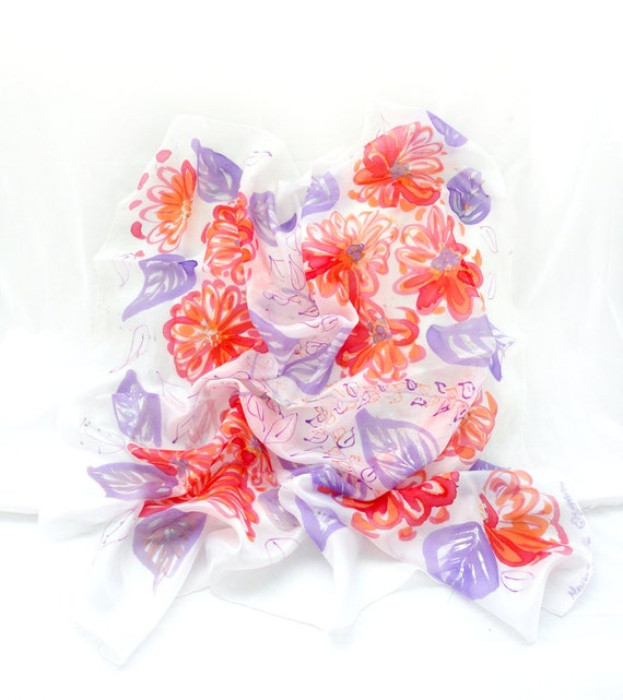 Silk Scarf. Hand Painted Silk Scarf. Silk Square Shawl. Romantic Floral Silk Scarves. Gift for Her. 35x35in. (90x90cm). Ready to Ship.