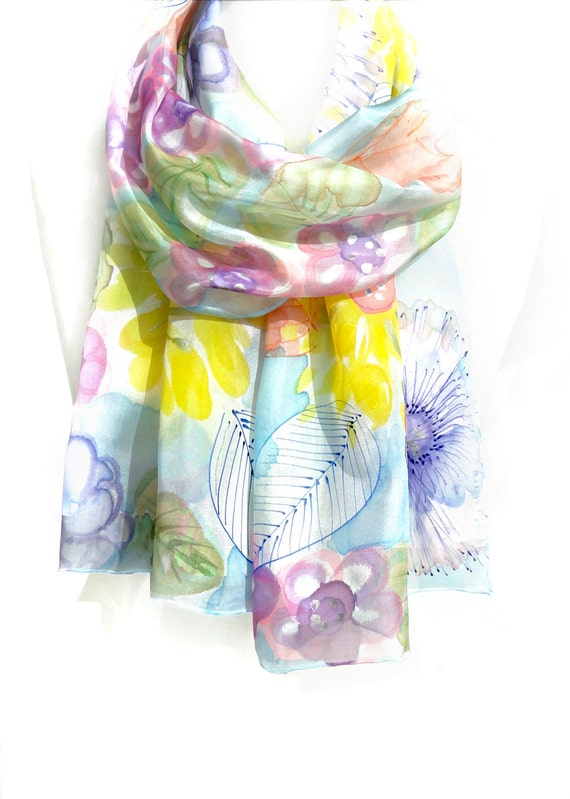 Whimsical Silk Scarf. Large Pastel Shawl. Hand Painted Women Scarf