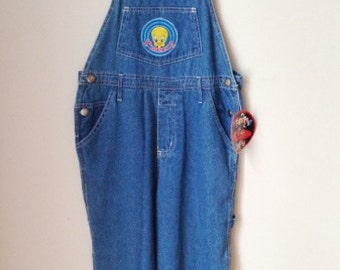 Tweety Bird Denim Overalls 1990s Girls 12