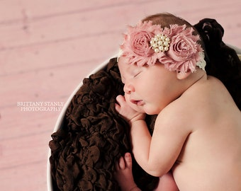 Newborn headband, shabby chic headband, infant headbands, baby hair bow, flower girl headband, wedding headband, baby accessories