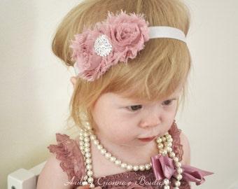 baby headband , Vintage Mauve Headband, Toddler Headband, Newborn photo prop. Infant Headband, Vintage Headband