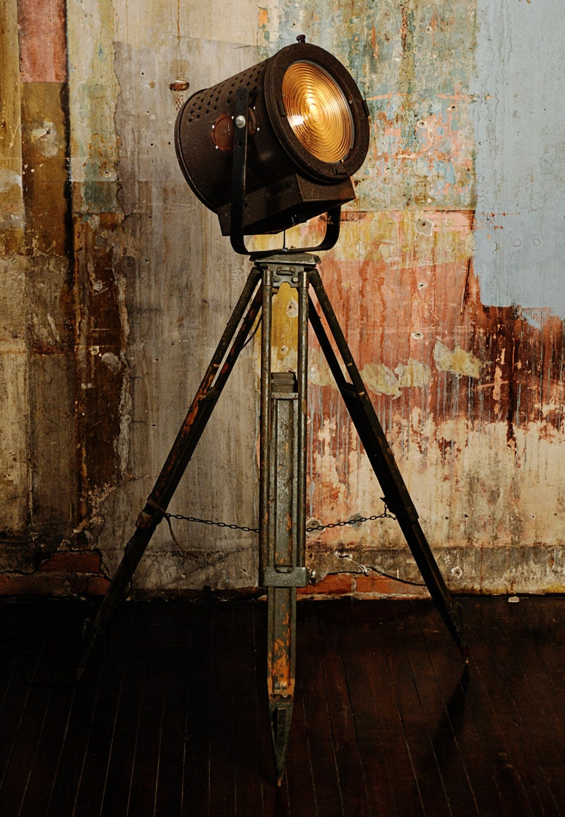 Floor Lamp From Vintage Theater Light And Tripod By