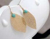 Turquoise and Gold Leaf Earring - Boho Earrings on Gold Filled Earwires - Large Leaf Earrings - Boho Gold Leaf Earrings - Nature Jewelry