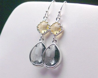 Charcoal Gray Earrings with Yellow - Yellow and Gray Earrings - Sterling Earwire - Bridesmaid Earrings, Wedding Jewelry