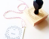 "Confetti Dots To / From Gift Tag Stamp - for Valentines, Weddings, Holidays, Birthday - 2"" x 2"" - Wood Mounted, Handle OR Self-Inking"