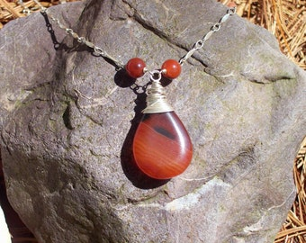 Banded Fire Agate Wire Wrapped Necklace on Silver Chain