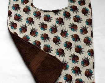 Adult Bib/Clothing Protector - Terry Cloth/Cotton - Brown - Pine cones and Berries - Unisex