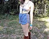 Lori Shorts - Chambray denim, 1970s inspired shorts with Pom Poms, Vintage fabric, Green fashion, Eco Fashion by Rehcy Vonne