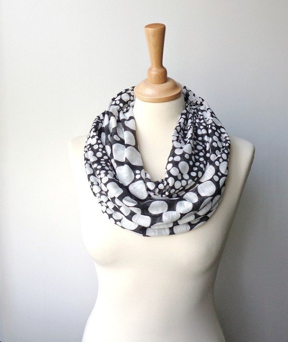 sale black & white infinity scarf , jersey circle scarf polka dot loop scarf snood neckwarmer etsyeur scarves
