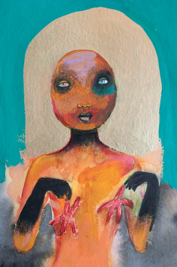 Gratis verzending  / Origineel schilderij van naakt meisje met zeesterren / mixed media / 24 x 32cm / goud / turquoise groen