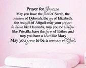 "Woman of God Prayer for Girl daughter Vinyl Decal Teen girl vinyl wall design decor 22"" x37"""