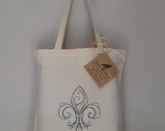 Fleur De Lis Embroidery on Eco friendly tote choose your own thread color any tote of your choice