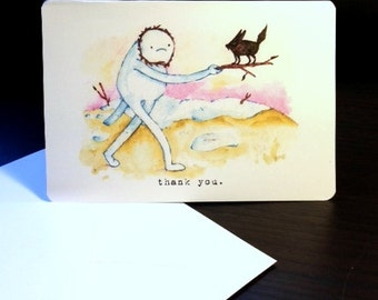 Thank You Card Snow Golem / Archival 4x6 inch watercolor print / nerd geek girl guy dork Adventure Time
