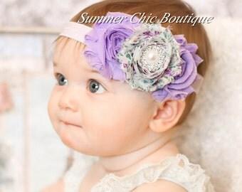 Baby Headband, Infant Headband, Newborn Headband, Shabby Headband, Spring Lavender Rosette Headband