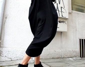 Oversize Black  Loose Casual Ribbed Top / Asymmetric Raglan Long Sleeves Tunic One Size / Maxi Blouse A02650