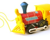 Vintage Fisher Price Train 643 Toot Toot 1964 Pull Toy - LindasTimeCompass