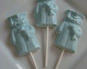 12 White Chocolate Blue Boy Graduation Lollipops Candy Bar Dessert Table Diploma Cap Gown