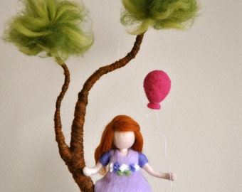 Girls Room Decoration Waldorf inspired needle felted mobile : Girl in purple with  balloon