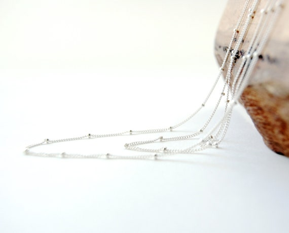 Hoku ala necklace - long sterling silver satellite chain necklace, long delicate necklace, minimal layering necklace, maui, hawaii