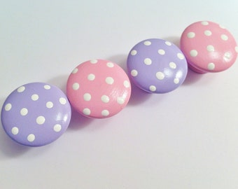 Pink and Purple Polka Dot Drawer Knobs for your Dresser