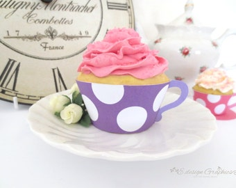 MAD HATTER Tea Cup Printable Cupcake Wrappers / Favour Holders - Tea Party Big Bold Polka Dot Design DIY  (Choose your colours)