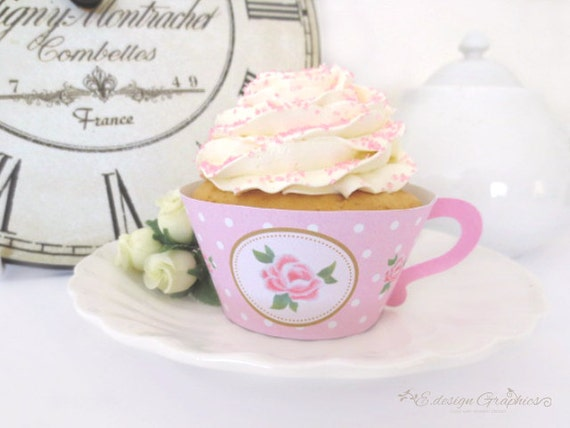 SWEET ROSE Tea Cup Printable Cupcake Wrappers / Favour Holders - Tea Party Polka Dot Rose Design (Option 2) (Choose your colours)