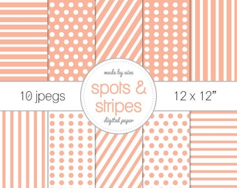 """Peach Polka dots Spots and stripes Digital Paper Pack of 10 - INSTANT DOWNLOAD 12x12"""" Scrapbooking digital download"""