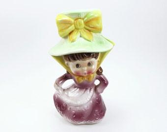 Vintage Figural Ceramic Planter - Singing Girl