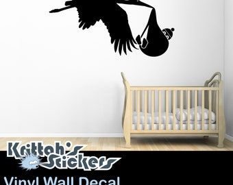 Stork Carrying Baby Child no.1 Vinyl Wall Decal (44 x 23 inches) K502