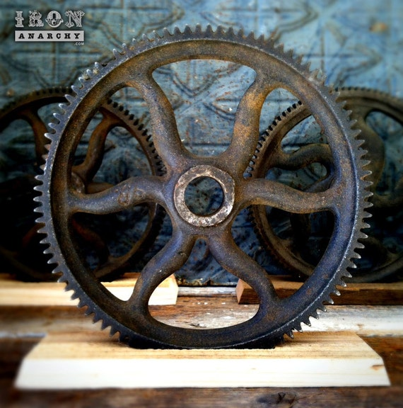 Antique Wheels And Gears : Decorative industrial gear wheel sculpture antique cast iron