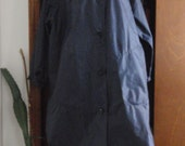 Reserved for Cathy  Vintage Ladies Aqua Sheen NAVY BLUE Raincoat Coat Button LARGE