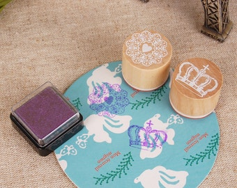 Lace Stamps (with inkpad) - Wooden Rubber Stamps - Diary Stamps - No1