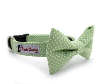 Polka Dot Dog Collar (Green & White) (Dog Collar Only - Matching Bow Tie Available Separately)
