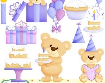 Birthday Teddy, boys clip art set. INSTANT DOWNLOAD for Personal and commercial use.