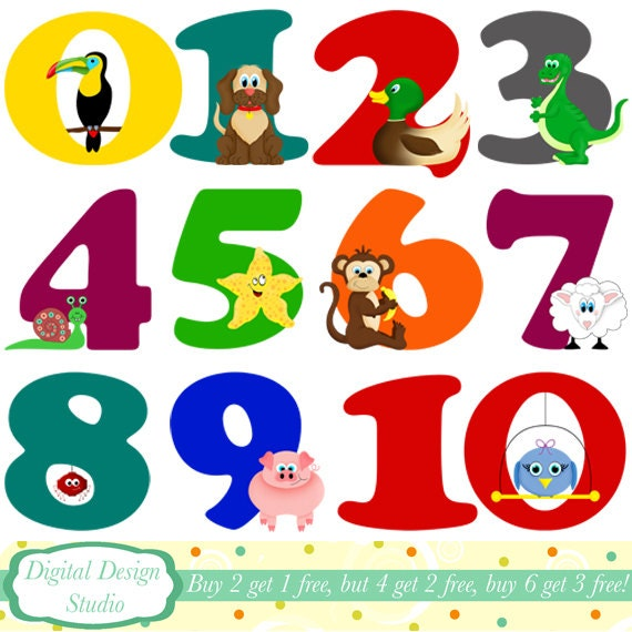Items Similar To Animal Numbers Digital Clip Art Instant