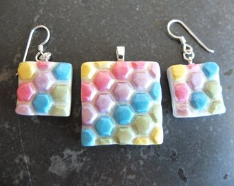 Candyland - rainbow pearl geometric polymer clay pendant and earrings set with silver fittings