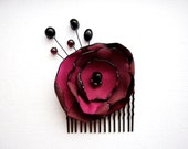 Wedding Hair Accessories, Flower Hair Comb,Wine and Black Rose, Steampunk, Floral, Burgundy, Country Weddings