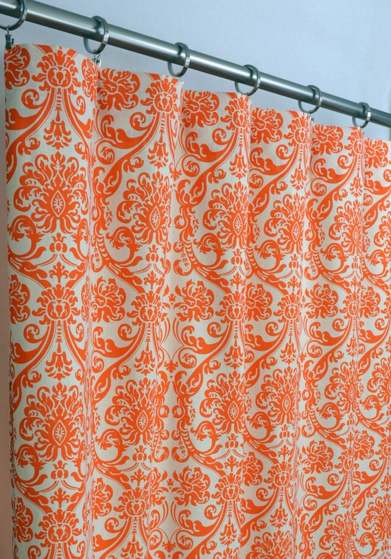 Orange Natural Beige Abigail Damask Curtains - Rod Pocket - 84 96 108 ...