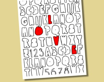LOVE Typography Giclee Print in Ramon Font