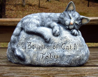 Ceramic Engraved/Customized Painted Cat Garden Decoration - Beware of Cat- hand made, customized, indoor or outdoor