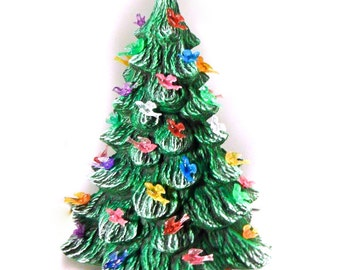 Medium Ceramic Christmas Tree -13.5 inches with base, hand made, painted, pine tree