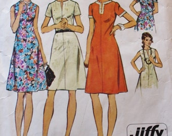 1960s Jiffy Dress Slightly Flared Simplicity 6079 Vintage Sewing Pattern Bust 43 Plus Size Pattern