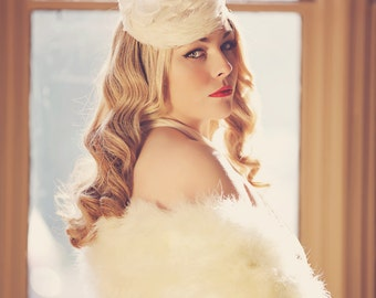 Giselle - Silk Feather Pillbox Bridal Hat