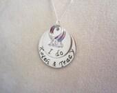 "Engagement-Bridal-Wedding Necklace-Hand Stamped Sterling Silver ""I do"" Necklace"