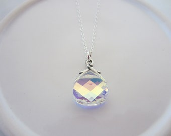 Bridal Necklace-Aurora Borealis Wedding Jewelry-Bridesmaids- Flat Briolette Pendant on a Sterling Silver Cable Chain