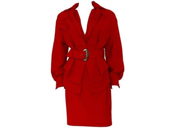 Thierry Mugler 1980s Vintage Skirt Suit Peplum Jacket & Skirt Red US 4 XS
