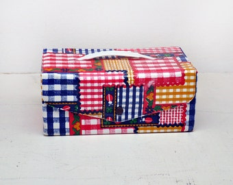 Vintage Madras Pattern Plastic/Vinyl Case with Snap Closure and Handle, Kids Carry Case, Craft Supply Case