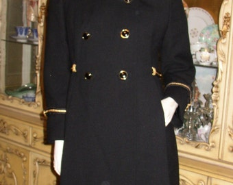 MILITARY MOD Vintage 60s 70s Black Wool & Gold Braid COUTURE Stewardess Coat Mod Retro Designer Couture Fall Winter Runway City Style