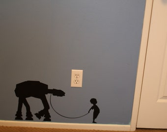 A Boy and His At - At or Girl and Her At - At vinyl wall decal - Boys Room Decal - Girls Room Decal - Star Wars wall decal - Wall Art
